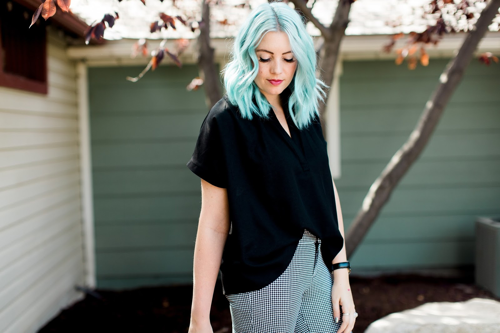 Black Shirt, Gingham Pants,Blue Hair