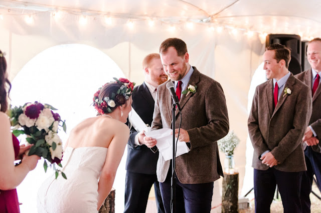 A rainy fall backyard tent wedding in Chestertown, MD photographed by Heather Ryan Photography