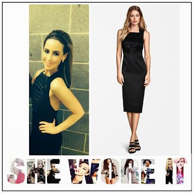 Back Detail, Black, Celebrity Fashion, Chiffon, Dress, Embellished, Embroidered, Front Detail, H+M CONSCIOUS, Panels, Pencil Dress, Rachel Stevens, Satin, Sequins, Sleeveless, Square Neckline, The Voice Of Ireland,