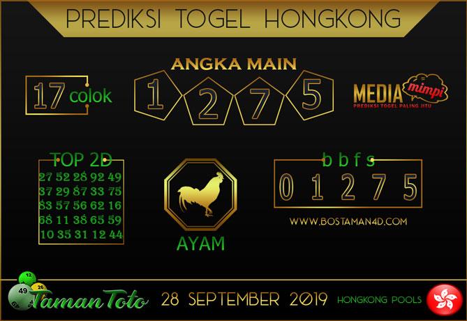 Prediksi Togel HONGKONG TAMAN TOTO 28 SEPTEMBER 2019