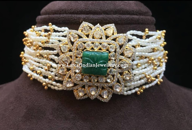 Diamond Choker Emerald Stone