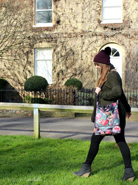 Cath Kidston Matt Oilcloth Double Decker Backpack Bloomsbury Bouquet Floral Black