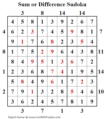 Answer of Sum or Difference Sudoku (Daily Sudoku League #140)