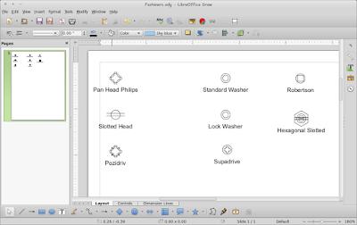 Cara Menggambar Diagram Fastener di Linux LibreOffice Draw