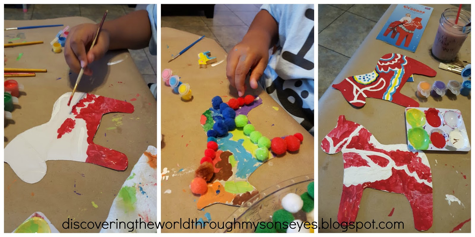 Discovering sweden with kids dala horse craft for Horse crafts for kids