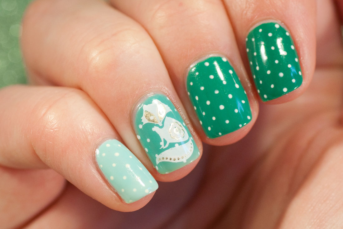 Cute Fox Nail Art with MoYou Animal 12 stamping plate