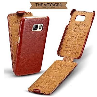 Sarung dompet casing hp kulit impor Samsung Galaxy S7 Edge leather case flip case cover asli vintage premium original keren