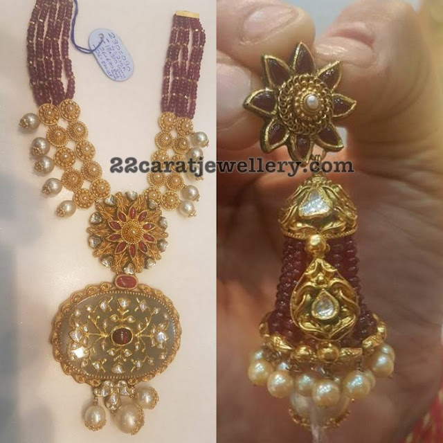 Fancy Kundan Set and Ruby Beads Earrings