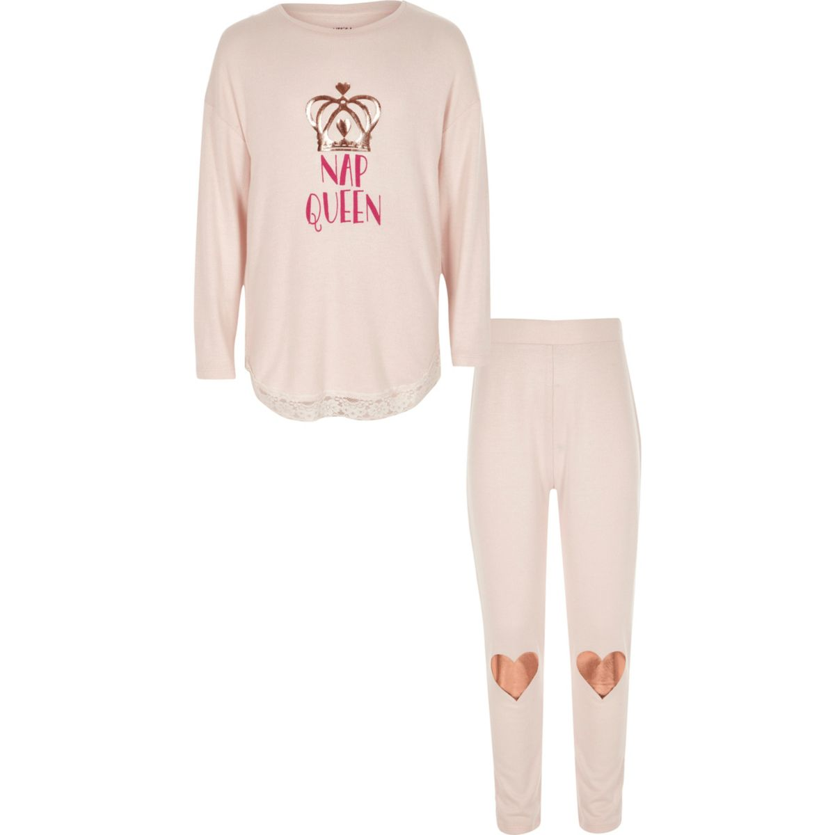 River Island Kids Girls pink and rose gold nap queen PJs