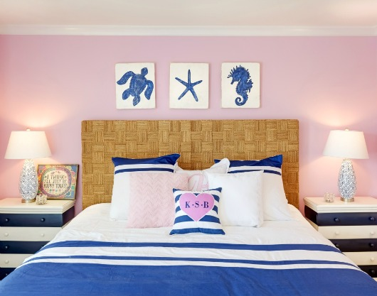 Blue and Pink Coastal Bedroom