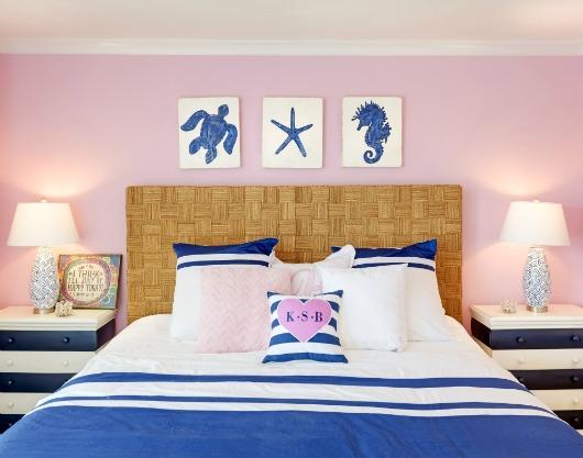 Blue and Pink Coastal Bedroom