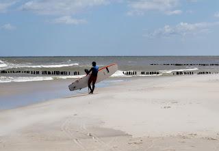 SUPsurfer on polish beach