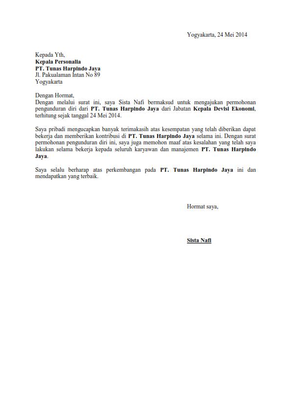 Contoh Surat Pengunduran Diri Lembaga Pendidikan Detil