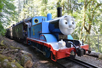 Thomas the Tank Engine makes a stop near Snoqualmie Falls.