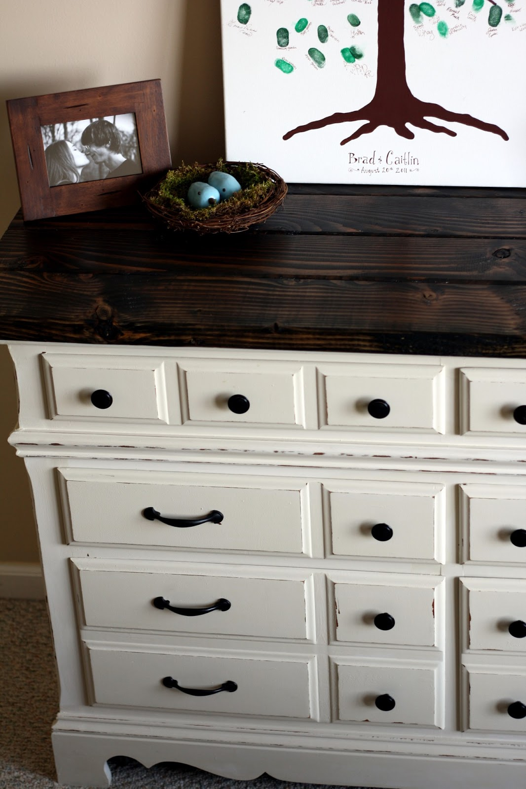 The Semi Frugal Life Diy Dresser With Rustic Wooden Top