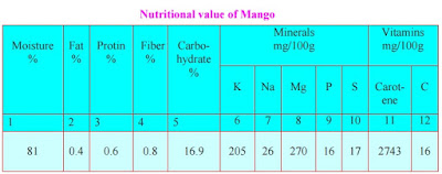nutritional values of mango