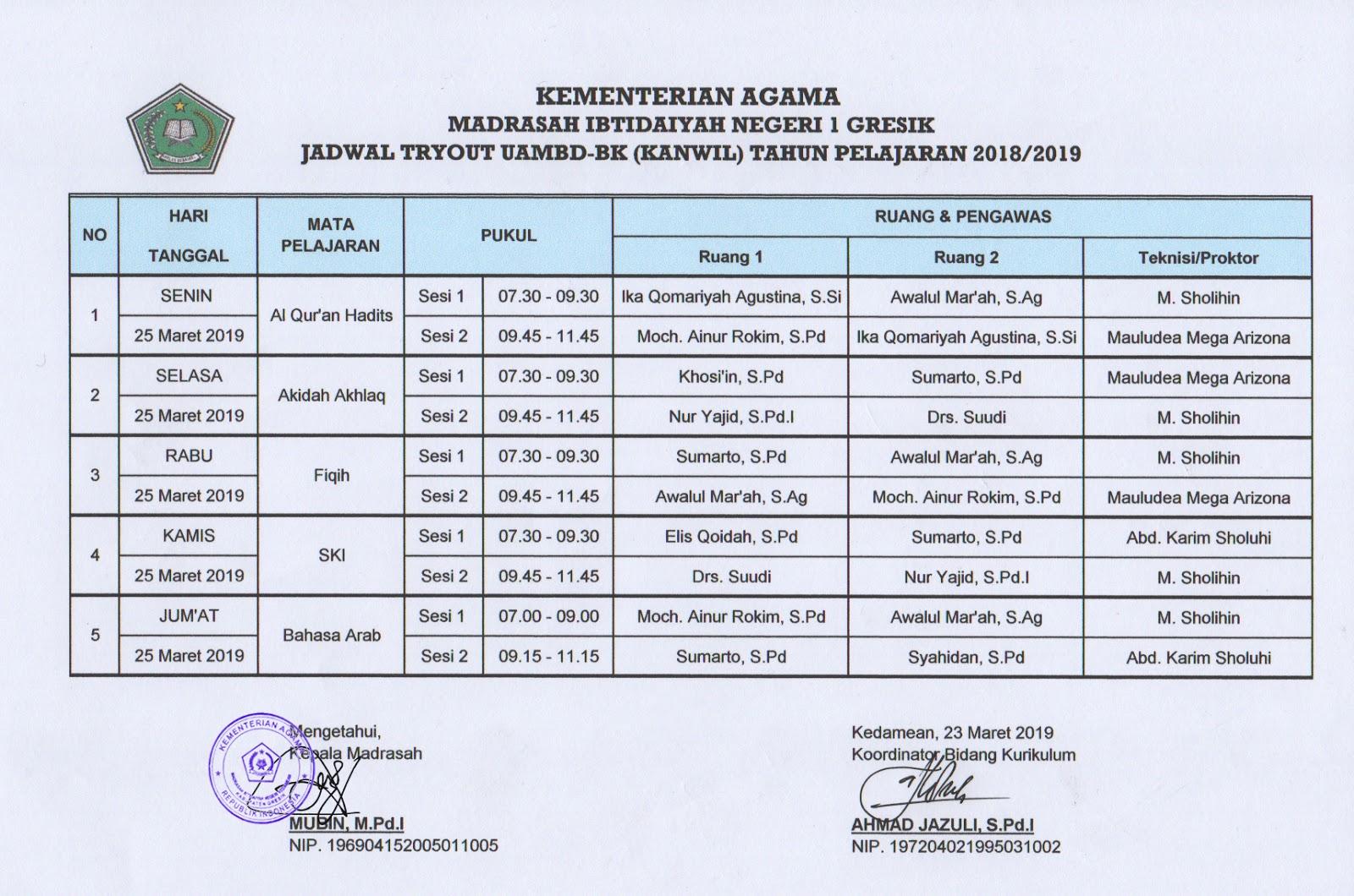 jadwal try out uambd-bk kanwil jawa timur 2019