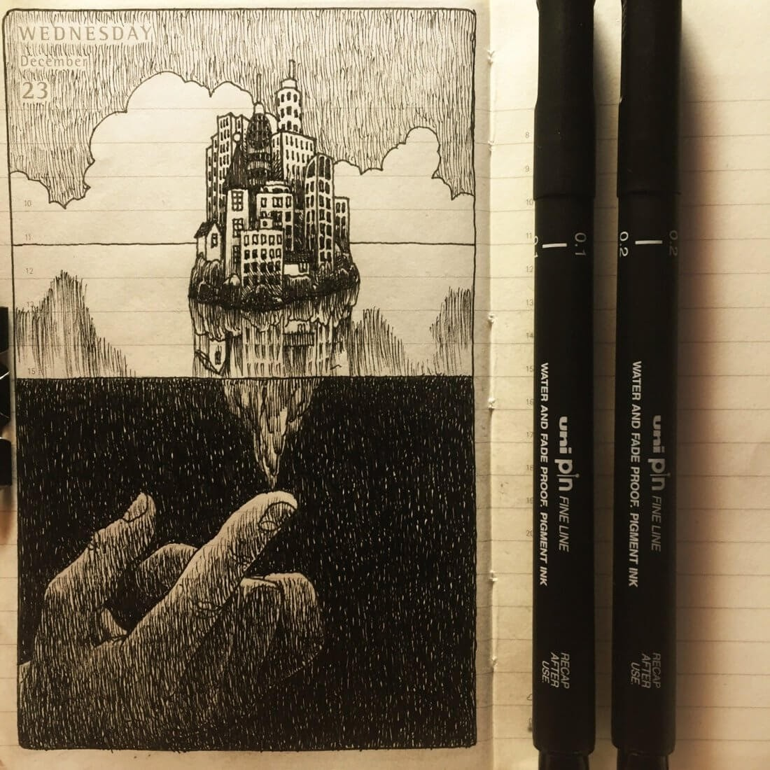 02-Tipping-the-Balance-Nina-Johansson-Moleskine-Diary-of-Surreal-Ink-Drawings-www-designstack-co