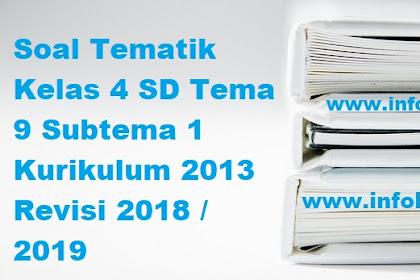 Soal Tematik Kelas 4 SD Tema 9 Subtema 1 Kurikulum 2013 Revisi 2018 / 2019