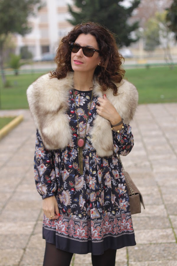 Vestido Boho & Cuello de Pelo