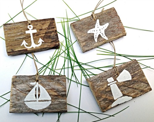 Handmade Coastal Wood Ornaments