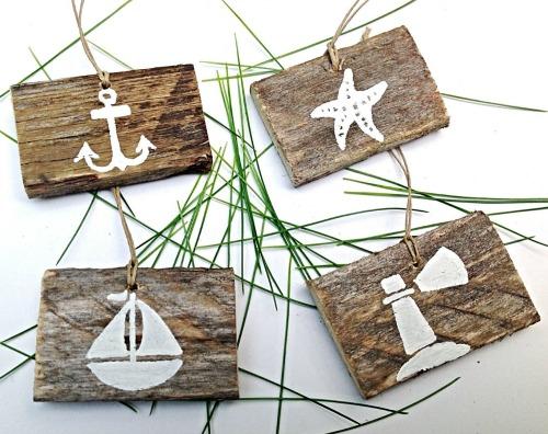 Handmade Coastal Wood Ornaments