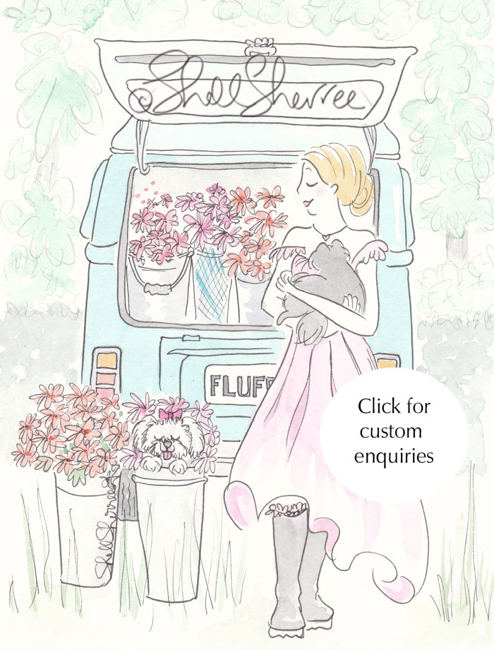 Aqua Kombi Van Flower Power Fashion & Fluffballs illustration © Shell Sherree all rights reserved