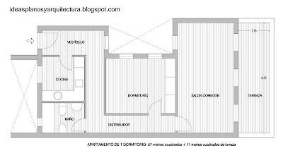 Plano arquitectónico de la planta de un apartamento en España