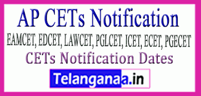 AP CETs Notification Dates  EAMCET EDCET LAWCET PGLCET ICET ECET PGECET