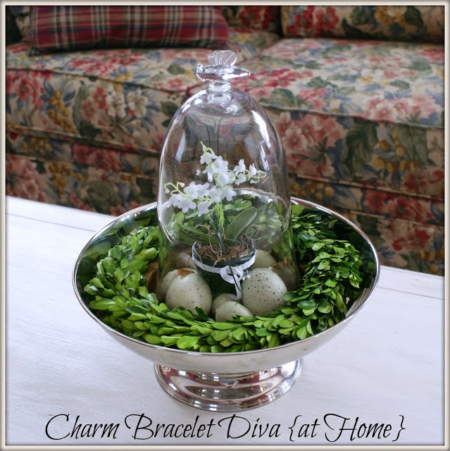 DIY Easter Egg Cloche in Silver Bowl