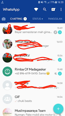tampilan whatsapp plus