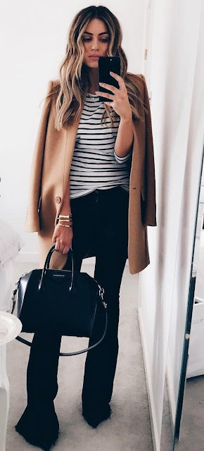 Women S Fashion Striped Shirt Black Flared Pants And