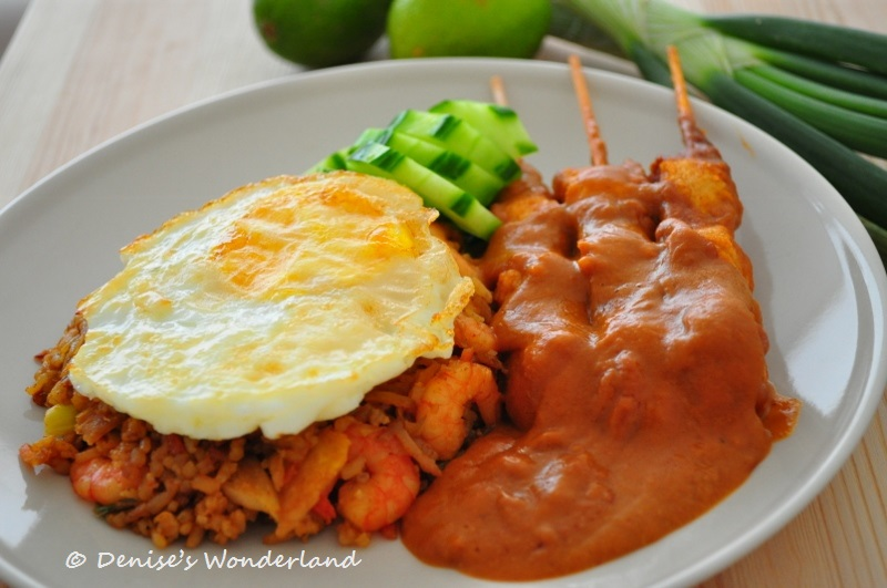 satay with fired rice (sate with fried rice)
