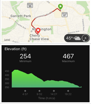 map of my route and an elevation graphic showing mostly downhill