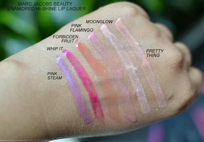 Marc Jacobs Beauty Enamored HiShine Lip Lacquers Lipgloss Swatches Pink Steam Whip It Forbidden Fruit Pink Flamingo Moonglow Pretty Thing