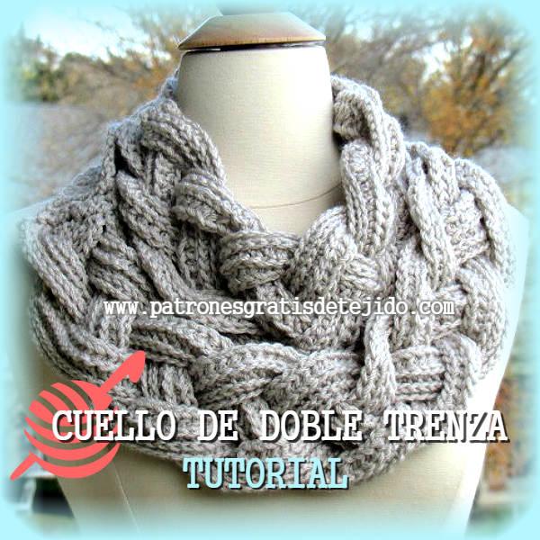 Cuello Doble Trenza / Tutorial Crochet en Español y en Inglés ...