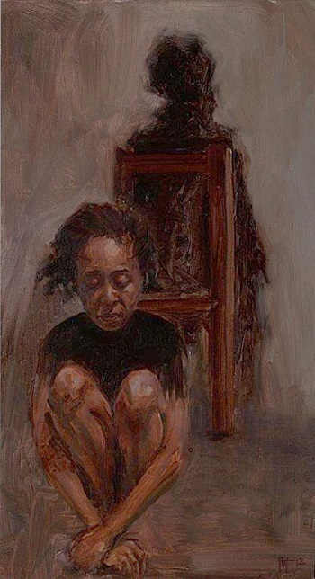 """Figure in Chair"" by Florence Wangui - 2018 - oil on board 