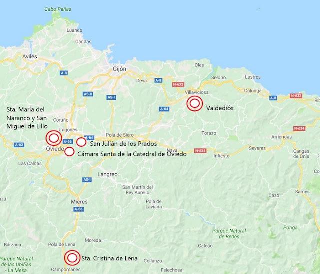 Localización de los monumentos prerrománicos en Asturias