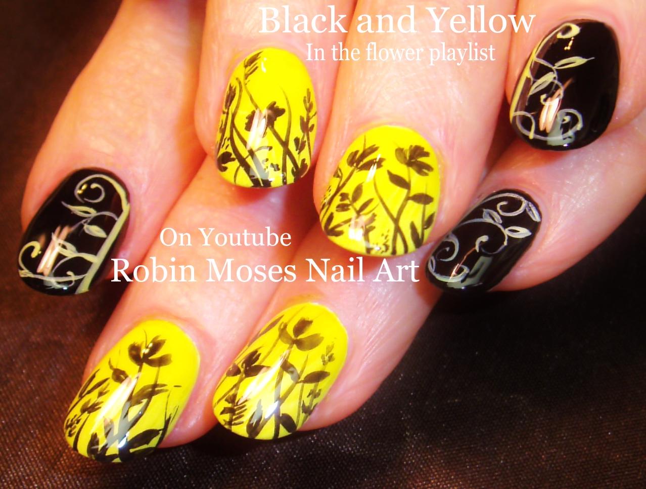 Nail Art By Robin Moses Elegant Diy Black And Yellow Design Nail
