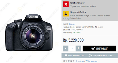 Harga Canon EOS 1300D Rp 5.200.000; di Tokocamzone.Com