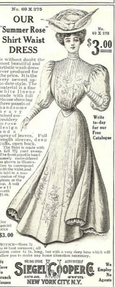 Siegel Cooper Co. Ad for Shirtwaist Dress 1906
