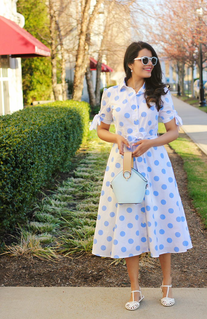 Spring Dressing Idea, Cotton Polka Dot Shirt Dress, Dress With Tie Sleeves, Dress With Bows At The Sleeves. eShakti Discount Coupon, eShakti Dress Review
