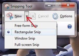 Take a screenshot with using Snipping Tool