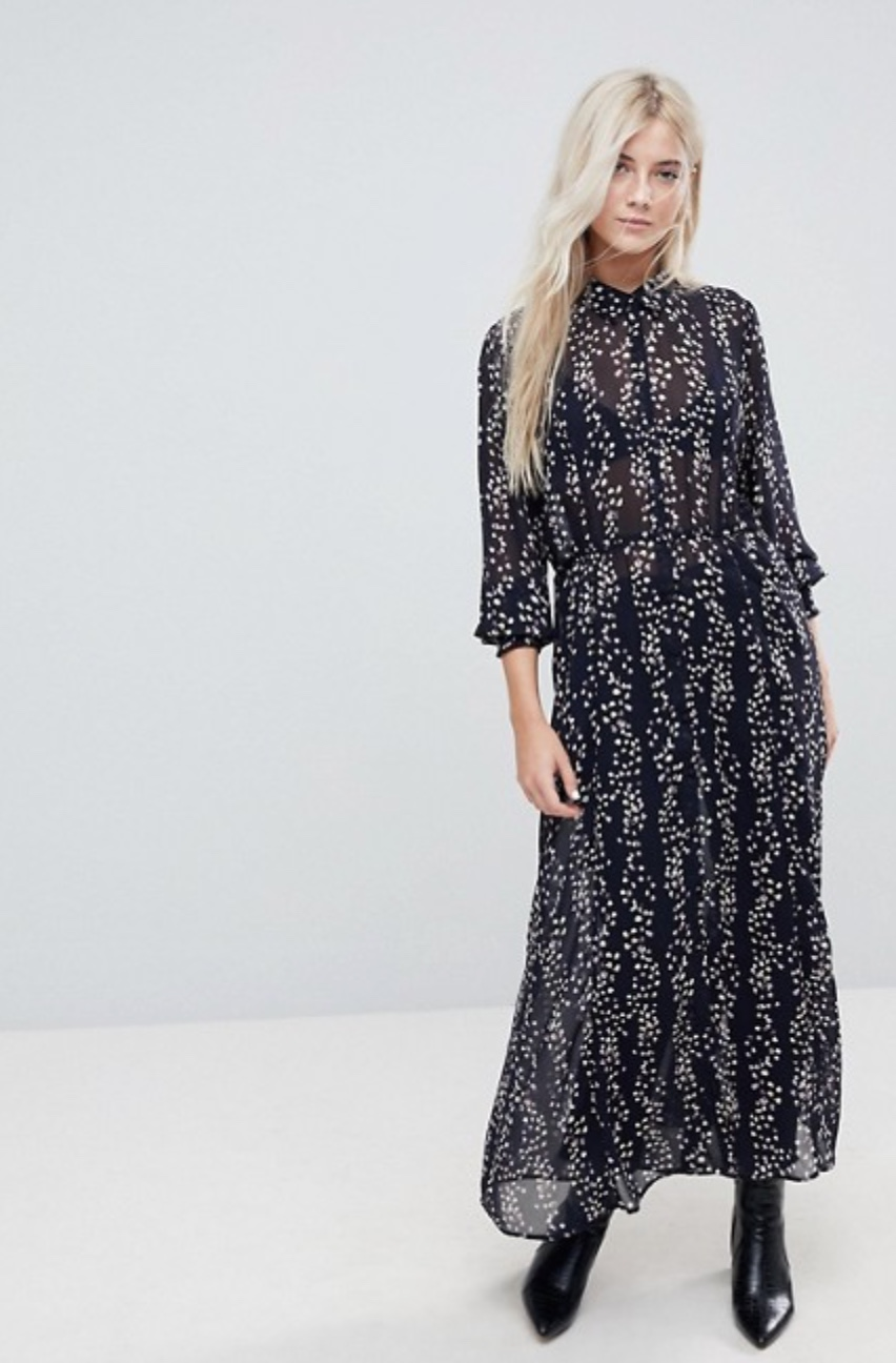 asos only ditsy printed maxi shirt dress