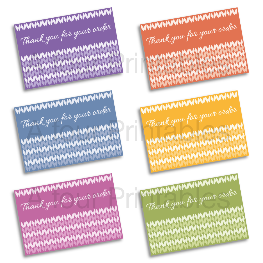 Knitting themed 'Thank you for your order' business cards sample print.