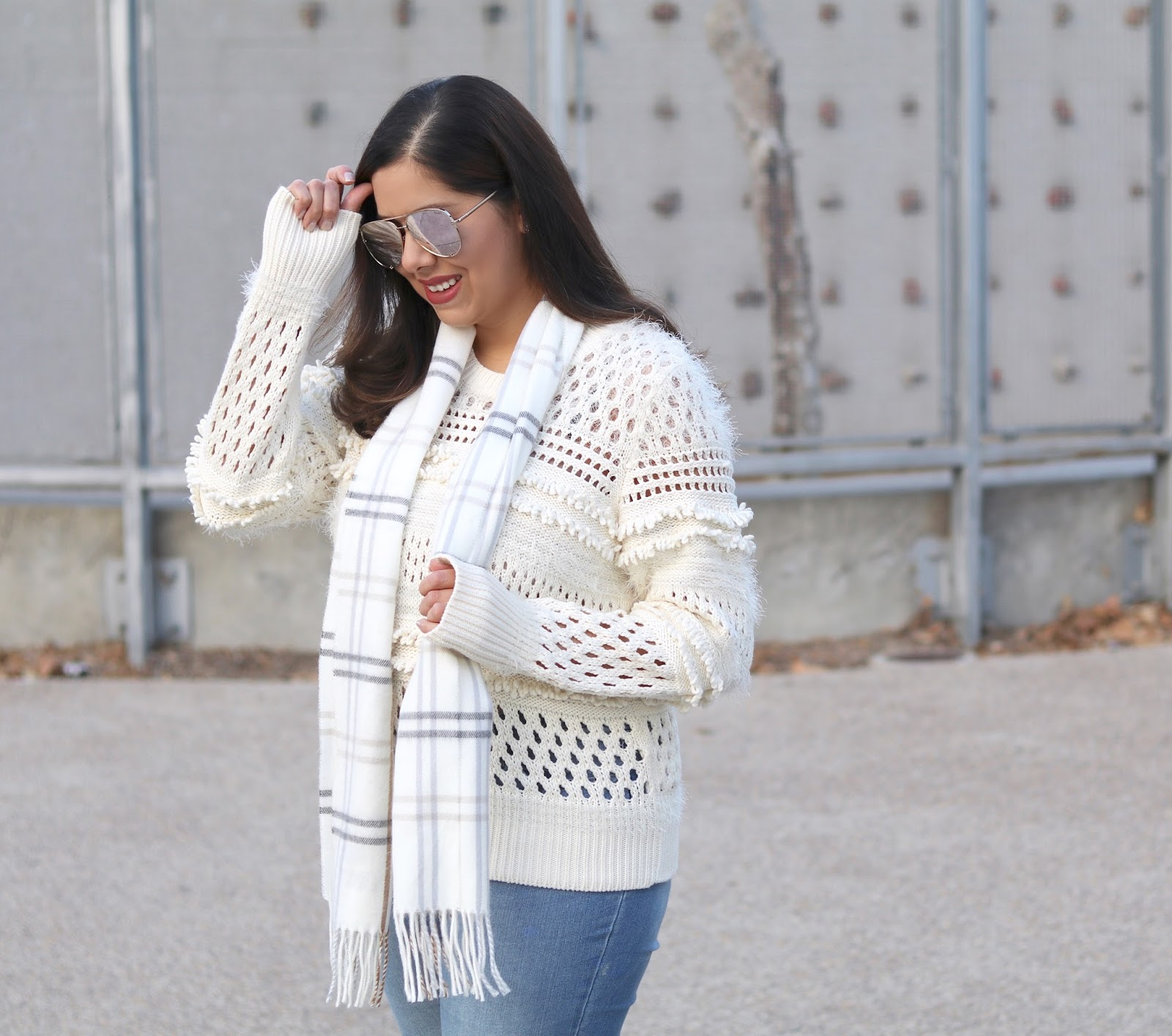 Quay x Desi high key sunglasses, beige cutout shaggy sweater, how to style a beige sweater