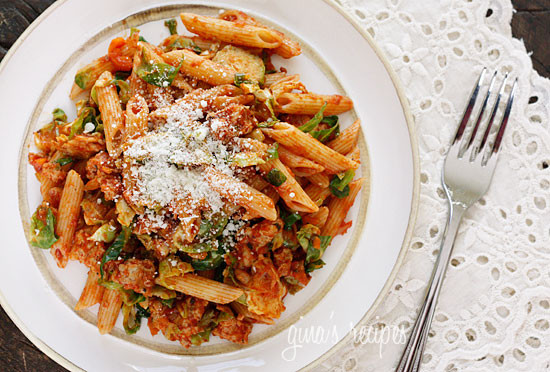 Autumn Penne Pasta with Brussels Sprouts in a Light Ragu