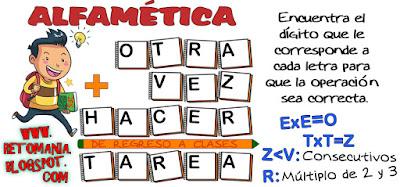 Alfamética, Criptoaritmética, De regreso a clases, De vuelta al Colegio, Criptosuma, Desafíos matemáticos, Retos matemáticos, Problemas matemáticos