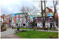 Skwer Pierwszych Słupszczan - mural kamienica w Słupsku
