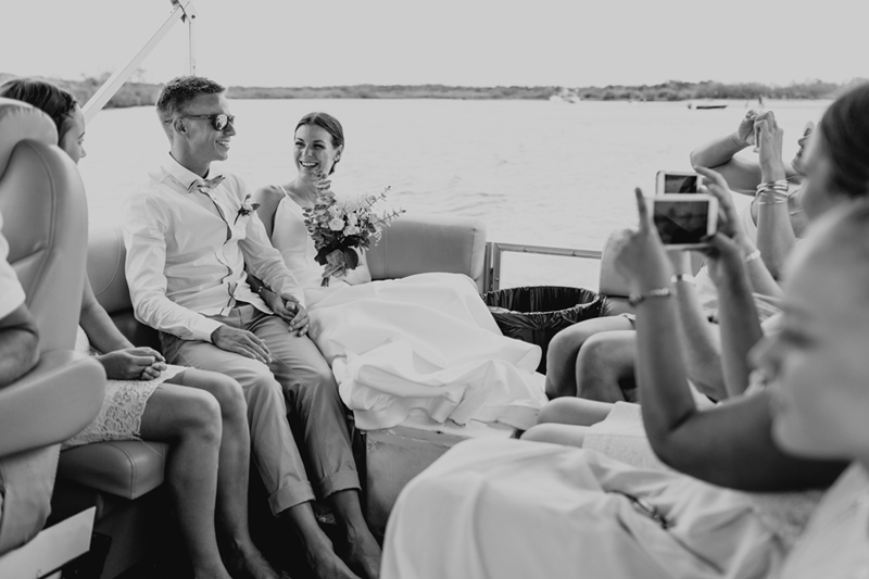 bw wedding couple on boat